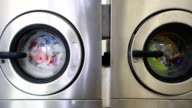 Washing machines in laundry room video