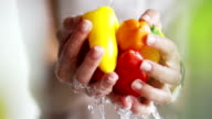 Washing peppers by hand video