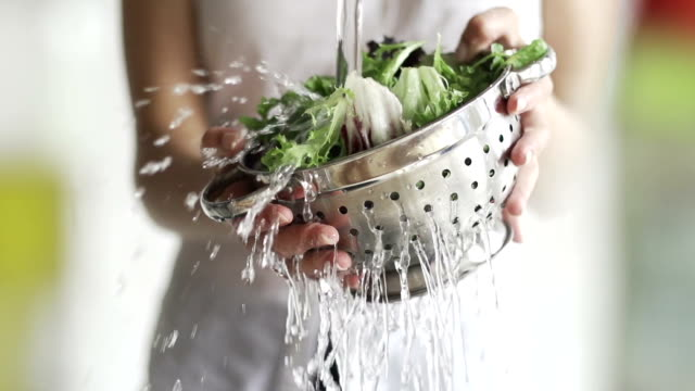 Washing salad video