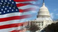 Washington DC Capitol and US flag video