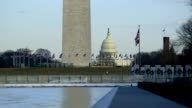 Washington Monument, U.S. Capital Building Winter video