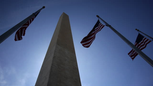 Washington Monument with American Flags video