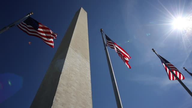 Washinton Monument with American Flags video