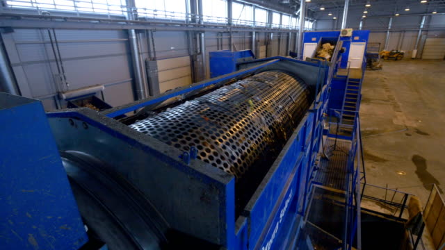 Waste sorting equipment in operation. video