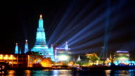Wat Arun and billbroad in New Year celebration, Bangkok, Thailand video