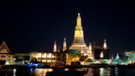 Wat Arun is decorated colorful light, Bangkok, Thailand video