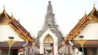 Wat Arun, Temple of Dawn art details landmark in Bangkok, Thailand video