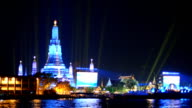 Wat Arun under light of New Year celebration, Bangkok, Thailand video