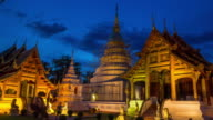 Wat Phra Singh tample in Chiang Mai, Thailand. Time Lapse Day to Night. video