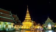 Wat phra that hariphunchai was a measure of the Lamphun province,Thailand. Day To Night Time Lapse HD. video