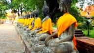 Wat Yai Chaimongkol Thai buddha statues video