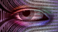 Watching Eye with Scrolling Binary Code (loopable) video