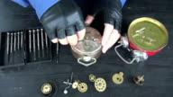 watchmaker repair old analog clock video