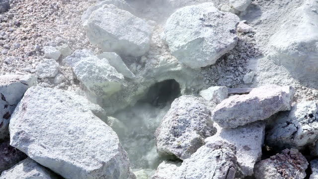 Water bubbling out of the ground as sulphur steam arises - Close Up video