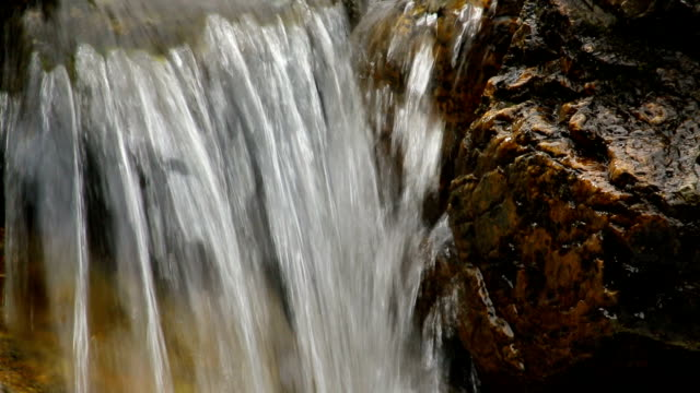 Water dripping from the rock. With sound video