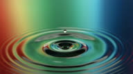 Water drips reflecting rainbow colors, slow motion video