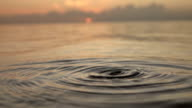 SLOW MOTION CLOSE UP: Water drop falls into ocean surface video