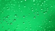 Water drop on green background. video
