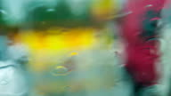 Water Drops Flowing Down On Glass During Rain video