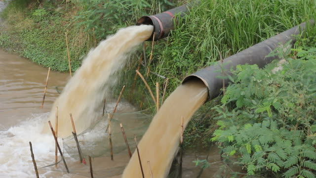 Water flowing from the sewer. video