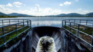 Water flowing out of the dam. Time Lapse video