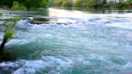 Water near waterfall. video