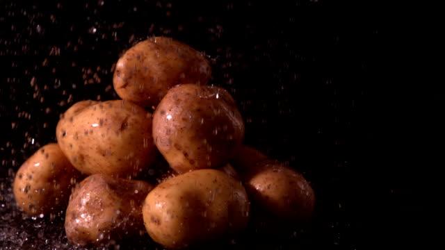 Water raining on pile of potatoes video
