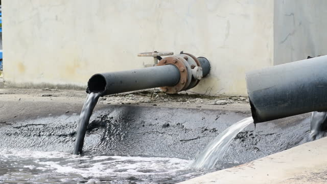 Water recycling on sewage treatment station. video