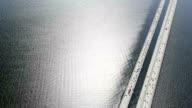 Water Reflections Across Highway Floating Bridge video