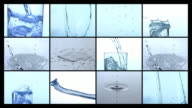 Water splashing and pouring, video montage video