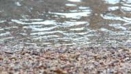 Water splashing on the rock beach video