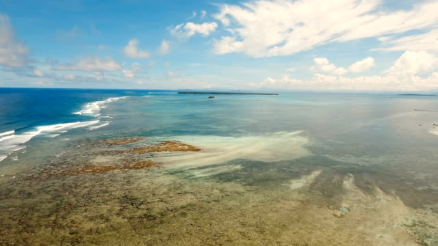 Water surface aerial view.Siargao island Philippines video