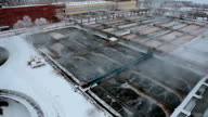 Water treatment plant aerial view with snow video