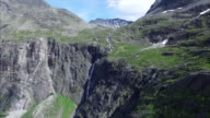 Waterfall above Trollstigen pass in Norway video