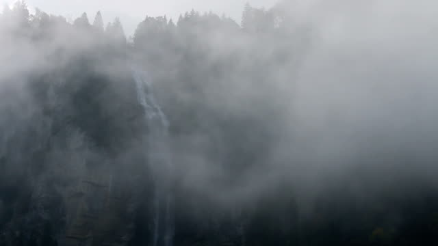 Waterfall and forest appears out of mist, cliff face video