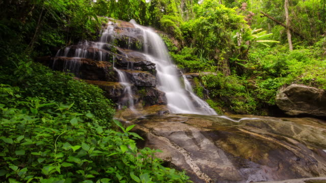 Waterfall and green nature Time Lapse , nature footage background , Zoom in movement video