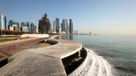 Waterfall at the Doha Corniche, Qatar video
