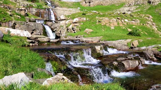 Waterfall de cotatuero under Monte Perdido at Ordesa Valley Aragon Huesca Pyrenees of Spain video