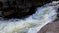 waterfall flowing down over rocky stones video
