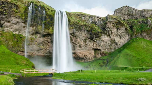 Waterfall in Iceland time lapse video