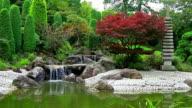 Waterfall in Japanese garden video