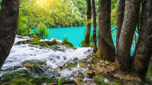 SLOW MOTION: Waterfall in the forest of Plitvice Lake National Park, Croatia video