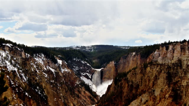 waterfall in the Yellowstone national park, time lapse video