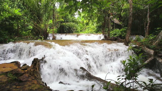 Waterfall in tropical forest in Kanchanaburi, Thailand with audio video