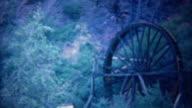 1940: Waterfall powered water wheel turning to create work. video