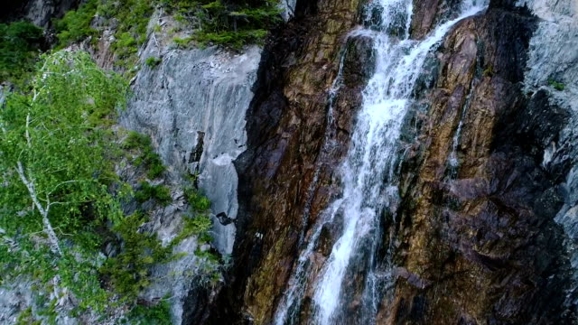 waterfall view from above aerial slow motion 1080p 120fps, video