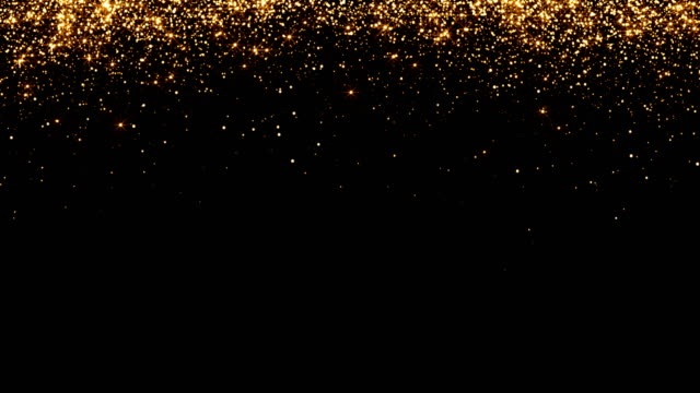 waterfalls of golden glitter sparkle bubbles particles on black background,happy new year holiday concept video