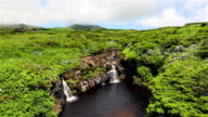 Waterfalls on highlands of Flores Island on Azores / Portugal video