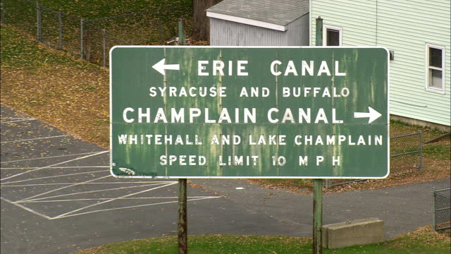 Waterford And Start Of Erie Canal - Aerial View - New York,  Saratoga County,  United States video
