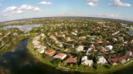 Waterfront homes in Florida aerial view video